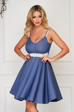 StarShinerS darkblue dress daily cloche with straps with v-neckline