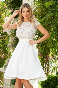 StarShinerS white dress midi occasional cloche fluid material guipure