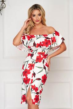 Elegant red pencil dress StarShinerS frilly trim around cleavage line slightly elastic fabric