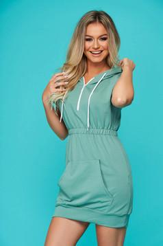 Rochie SunShine mint casual cu maneca scurta cu elastic in talie din bumbac usor elastic
