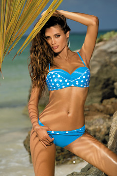 Lightblue swimsuit from two pieces with classic bottoms with balconette bra