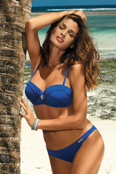 Darkblue swimsuit from two pieces with classic bottoms with balconette bra