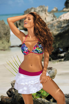Pink swimsuit from two pieces with classic bottoms triangle bra with push-up cups