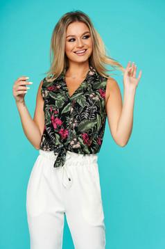 White women`s shirt casual thin fabric sleeveless