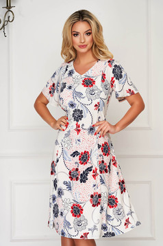 StarShinerS white dress daily midi with v-neckline cloche from elastic fabric with floral print