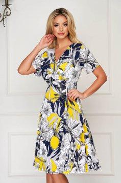 StarShinerS yellow dress midi daily cloche lycra short sleeves