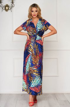 StarShinerS blue dress long daily thin fabric with v-neckline