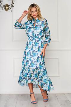 Rochie StarShinerS albastru aqua asimetrica eleganta din voal cu imprimeuri florale si elastic in talie