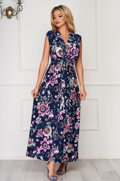 StarShinerS darkblue dress daily flared with v-neckline lycra with floral print