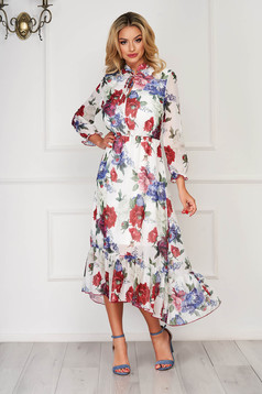 StarShinerS white elegant asymmetrical dress with floral prints from veil fabric with elastic waist