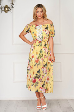 StarShinerS yellow dress daily midi from veil fabric with floral print with elastic waist with lace details