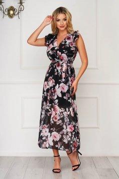Rochie StarShinerS neagra de zi lunga din voal cu imprimeu floral accesorizata cu cordon cu volanase la maneca