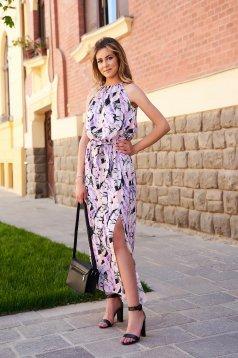 Rochie lila lunga de zi fara maneci din material vaporos