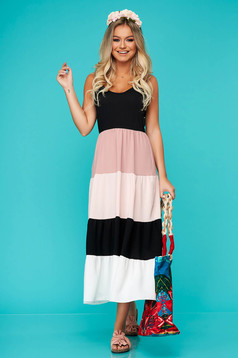 Lightpink dress daily long flared with straps with v-neckline