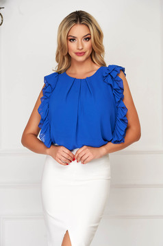 StarShinerS blue women`s blouse elegant flared voile fabric with ruffled sleeves