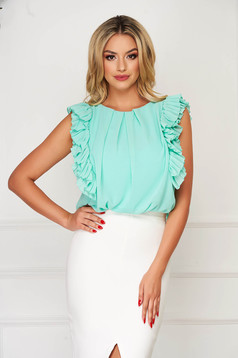 StarShinerS mint women`s blouse elegant flared voile fabric with ruffled sleeves