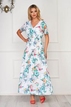 Rochie SunShine alba de zi lunga cu decolteu in v cu elastic in talie din material vaporos cu imprimeuri florale