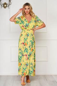 Rochie SunShine galbena de zi lunga cu decolteu in v cu elastic in talie din material vaporos cu imprimeuri florale