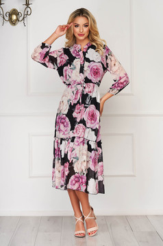 Black dress daily midi from veil fabric with floral print with elastic waist with 3/4 sleeves
