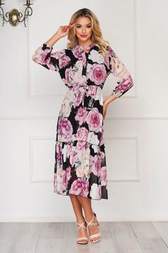 Rochie neagra de zi midi din voal cu imprimeu floral cu elastic in talie cu maneci trei-sferturi