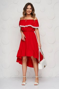 Red dress asymmetrical daily off-shoulder with ruffles on the chest