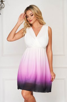 Purple dress elegant with v-neckline with elastic waist with a cleavage slightly transparent fabric