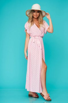 Rochie SunShine roz lunga de zi din material fin la atingere cu elastic in talie
