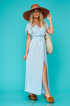 Rochie SunShine albastra lunga de zi din material fin la atingere cu elastic in talie