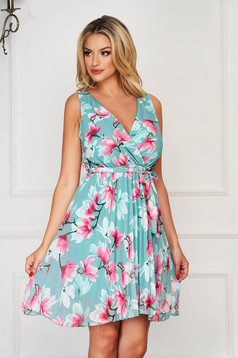 Mint dress elegant daily with v-neckline folded up from veil fabric cloche with elastic waist