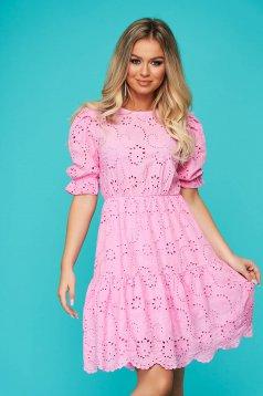 Rochie SunShine roz de zi scurta cu elastic in talie din bumbac