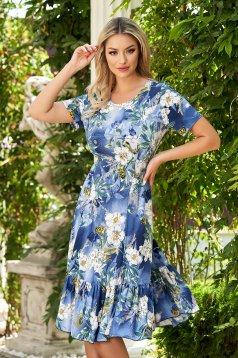 StarShinerS blue dress midi daily cloche lycra short sleeves