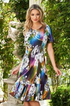 StarShinerS purple dress midi daily cloche lycra short sleeves