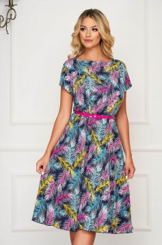 StarShinerS darkblue dress short cut daily cloche short sleeves with floral print