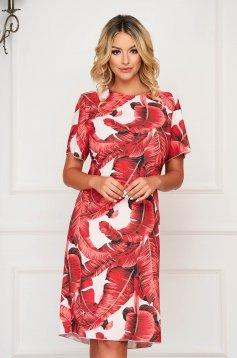 Rochie StarShinerS rosie scurta de zi cu maneci scurte si imprimeu floral