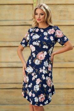 Rochie albastru-inchis midi de zi din lycra cu croi in a si maneci scurte