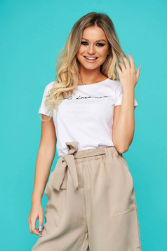 White t-shirt casual flared cotton with rounded cleavage