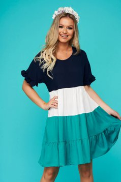 Green short cut daily flared dress with rounded cleavage short sleeves