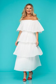 White dress long daily folded up naked shoulders thin fabric