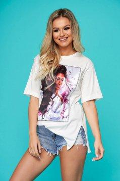 Tricou SunShine alb casual cu croi larg cu maneci scurte si imprimeuri grafice