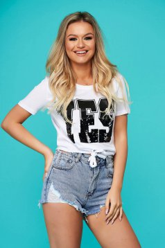 White t-shirt casual short cut flared with sequin embellished details