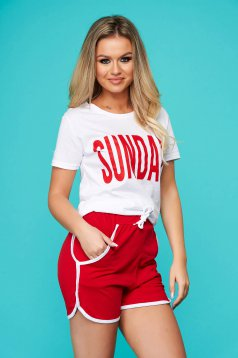 Red sport 2 pieces 2 pieces with trousers women`s t-shirt