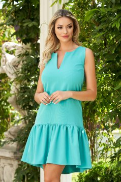 Dress StarShinerS green daily cloth flared with ruffles at the buttom of the dress midi