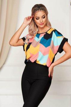 Bluza dama StarShinerS neagra eleganta asimetrica cu croi larg din material subtire
