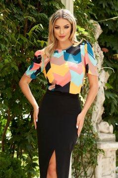 Women`s blouse elegant StarShinerS black flared thin fabric short sleeves