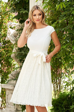 Dress cloche StarShinerS ivory midi laced stretch short sleeves