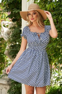 Darkblue dress short cut daily cloche thin fabric dots print naked shoulders