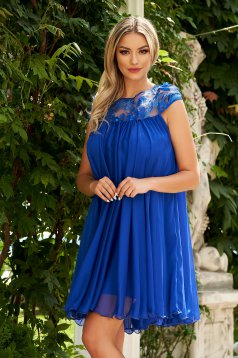 Blue dress occasional short cut slightly transparent fabric
