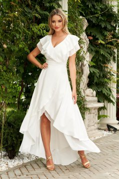 Dress StarShinerS white long asymmetrical occasional cloche from veil fabric with ruffles on the chest