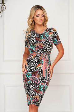 Dress StarShinerS black elegant midi pencil lycra short sleeves