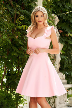 Dress StarShinerS lightpink elegant short cut cloth with ruffle details thin fabric